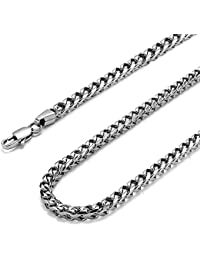 Moneekar Jewels 3-6mm Curb Chain Necklace for Men Stainless Steel Biker Punk Style, 20-36 inches