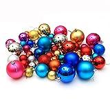 36 Stück Kunststoff Weihnachtskugeln Weihnachtsbaum Kugeln Deko in 3-8cm Diameter