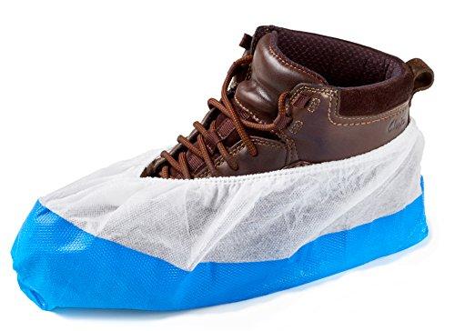 100 Copriscarpe/Copertura di Scarpe Monouso di ISC H&S con Suola Antisdrucciola, extra robusto, a tenuta di liquidi/impermeabile, taglia unica, prodotto professionale (100 pezzi)