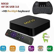 Caja de TV, MX10 RK3288 Quad-core Android 7.1 TV Box 4 GB (DDR3) 32 GB, Soporte 2.4G Wifi Connected 64bit Quad-Core 3D 4K HDR Video Reproducción de Smart TV BOX con teclado retroiluminado inalámbrico