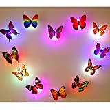 Bluelover 6Pcs Colors Changing LED Flashing Butterfly Night Light Decorative Lights 3D Stickers Home Decor