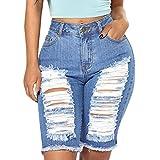 Vectry Damen Hosen Shorts Sommer Hotpants Bermudas Ultra Jeans Leggings Strand Laufgymnastik Yoga Der Sporthosen Schlafanzughosen - Hosen Elastische Denim Zerrissene Jeans Hosen (M, Blau)
