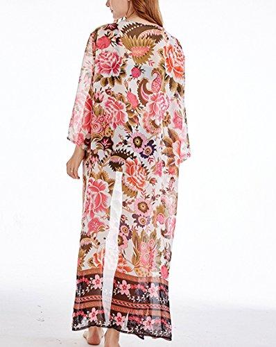 Stampato Lpeach Up Cover Cardigan Floreale Donna Bikini Manica Lunga SnnFq6HPv