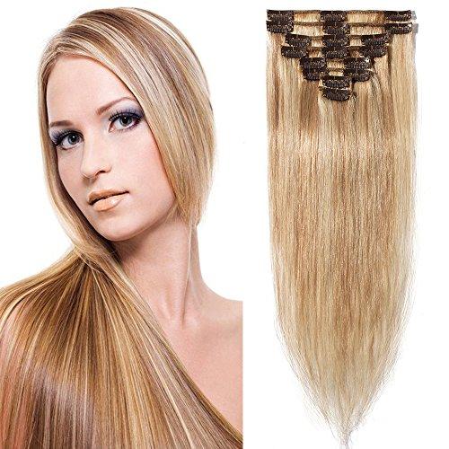 Extension capelli veri clip meche- 50cm/70g #18/#613 beige sabbia biondo/biondo chiarissimo- remy human hair umani
