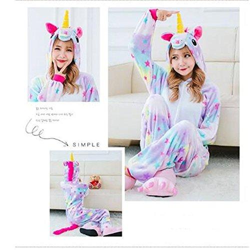 Süßes Einhorn Overalls Jumpsuits Pyjama Fleece Nachtwäsche Schlaflosigkeit Halloween Weihnachten Karneval Party Cosplay Kostüme für Unisex Kinder und Erwachsene (S, Stern Einhorn) - 7