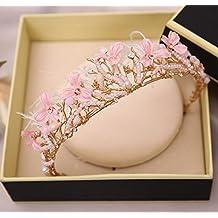 &qq Vestido de cabeza,tocado de la boda, banquete tocado, hecho a mano, de color rosa corona de plumas de perlas, tocado vestido de novia, tocado banquete