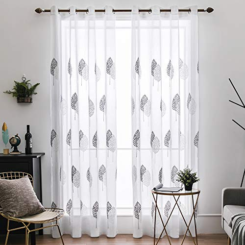 MIULEE Voile Blatt Stickerei Vorhang mit Ösen transparent Gardine 2 Stücke Ösenvorhang Gaze paarig schals Fensterschal Vorhänge für Wohnzimmer Schlafzimmer 245 cm x 140 cm(H x B) 2er-Set