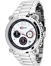 Creactive CA120107 - Reloj pulsera analógico para hombre de cuarzo (resistente al agua, cronógrafo), correa de acero inoxidable plateado