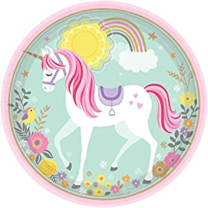 Amscan International - 551929 placa papel 22,8 cm-printed placa 23 cm RD mágico Unicorn