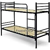 Litera metálica cm 80x190 (total 80x203x150) con escalera para acceso a la cama superior con colchón y almohadas incluidas