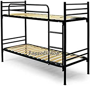 80x203x150 overall METAL BUNK BED WHITE WOODEN SLATS SIZE CM 80x190