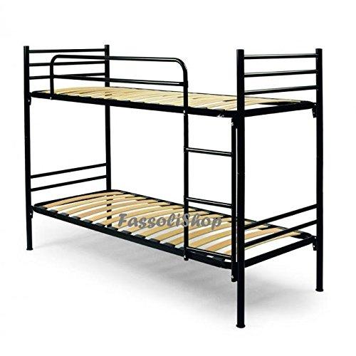 Litera metálica negro cm 80x190 (total 80x203x150) con escalera para acceso a la cama superior
