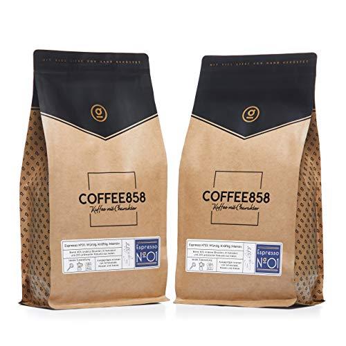 Espresso N°01 Dark Edition - Dunkler Espresso - Feinster Arabica Robusta Blend - Kaffee-Bohnen für Vollautomaten und Siebträger - 1KG (2x500g) Espresso-Bohnen