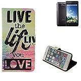 K-S-Trade Kazam Trooper 2 5.0 Schutz Hülle 360° Wallet Case ''live Life Love'' Schutzhülle Handy Tasche Handyhülle Etui Smartphone Flip Cover Standfunktion (1x)