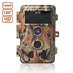 DIGITNOW! Trail Camera 16MP 1080P HD Waterproof , Wildlife Hunting Scouting Game Camera with 40Pcs IR LED Infrared Night Vision Up to 65FT /20M , Surveillance Camera 130° Wide Angle 120° Detection