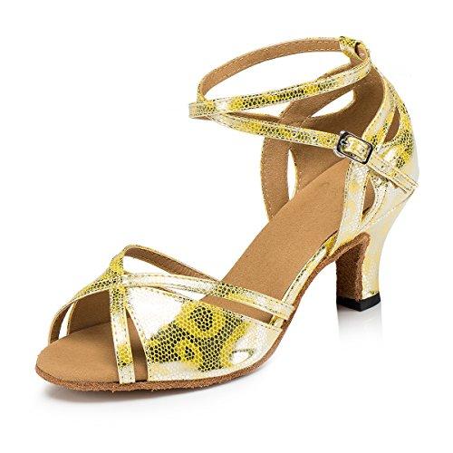 Minitoo L202da donna tacco Flare PU in pelle scarpe da danza latina Salsa Gold