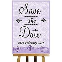 Lilla shabby chic collezione Vintage Save the date personalizzato stampato carta wedding Sign poster, Purple, Large A3