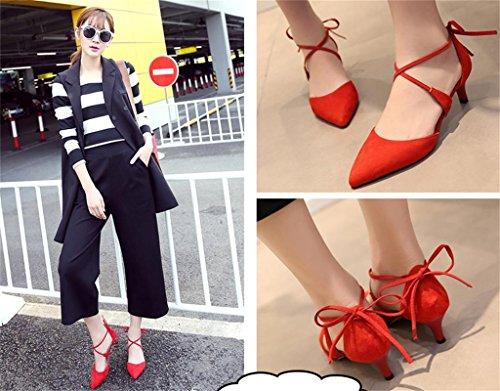 ALUK- Automne et été - Cravate avec chaussures pointues dans les chaussures sandales Chaussures de sport ( couleur : Rouge , taille : 35 ) Rouge