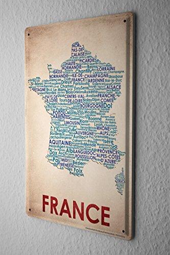 Blechschild Welt Reise Kartenausschnitt Frankreich Wand Deko Schild 20X30 cm