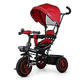 Fascol 6 in 1 Baby Dreirad mit Drehsitz Kinderdreirad für Jungen und Mädchen ab 18 Monate -5 Jahre alt, Kinderwagen mit lenkbarer Schubstange, Sonnendach und flüsterleise Gummireifen von Fascol