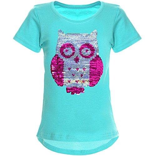 BEZLIT Mädchen Wende-Pailletten T-Shirt Tollen Eulen Motiv 22031 Grün Größe 104 -