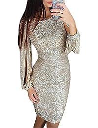 e88ca76dbb1852 ORANDESIGNE Damen Abendkleider Sexy Glitzer Cocktailkleid Glänzend Fransen  Festliches Hochzeit Abend Kleid Langarm Partykleider