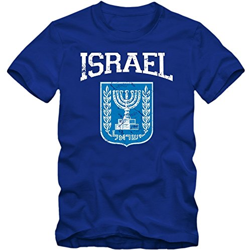 Israel Emblem T-Shirt Vorderasien Olivenzweig Jerusalem Herrenshirt, Farbe:Blau (Royalblue L190);Größe:XL