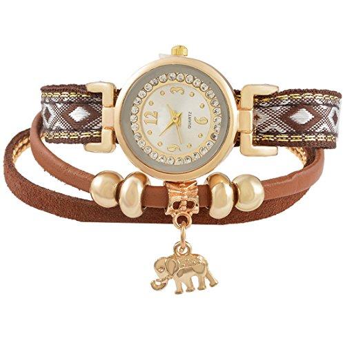 d9b43dc9b894ce MJARTORIA Damen Boho Strass Armbanduhr Elegant Lederarmband Modeschmuck  Damenuhr Analog Quarz Uhr Für Mädchen Gelb