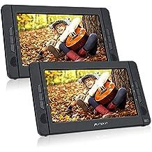 Pumpkin Lettore dvd portatile per auto poggiatesta con supporto 10.1 pollici doppio schermi, gioca circa 5 ore, lettore dvd regione free, facile da usare, cambiare i dischi semplice,porta hdmi