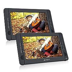 Idea Regalo - Lettore dvd portatile per auto poggiatesta con supporto 10.1 pollici doppio schermi, gioca circa 5 ore, lettore dvd regione free, facile da usare, cambiare i dischi semplice,porta hdmi