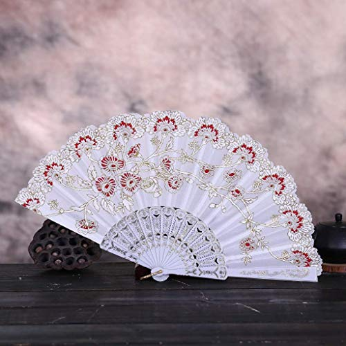 Bobopai Folding Hand Fan Chinese Vintage Retro Style Dance Wedding Party Lace Silk Folding Hand Held Flower Fan - for Women Men Best Gifts (FF) -