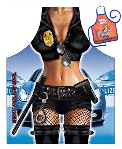 artikel Schürze mit kleiner Schürze Police Girl Geschenkartikel für jeden Anlass Karneval Geschenkidee Spassartikel (Hot Police Girl Kostüm)
