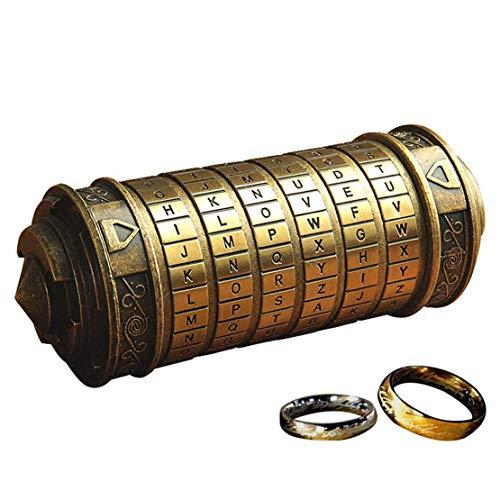 Rétro Da Vinci 3D Cryptex Code Lock Coffrets Cadeaux Anniversaire Saint Valentin avec Le Seigneur des Anneaux Emballage Cadeau Exquis