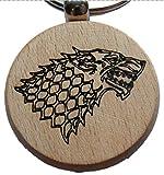 Nuevo invierno de juego de tronos Casa de Stark lobo de madera llavero llavero novedad madera...