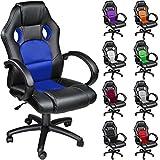 TecTake Poltrona Sedia direzionale da ufficio Racer classe di lusso - disponibile in diversi colori (Blu)