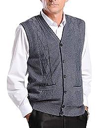 BrownFairwhale - Chaqueta de Punto para Hombre sin Mangas Chaleco Cballero de Sweater Jerséis Negocio para Primavera Otoño