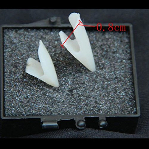BoodTag 4pc Devil Tooth Fangs Caps Zombie Vampire Dentures Halloween Party Props  4pcs  White