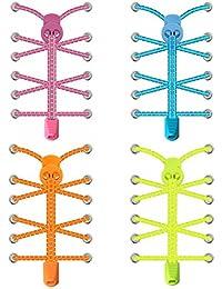 SZPLUS cordones elásticos deportivas sin atar para Zapatos con Inserciones Reflectantes 4 Pares