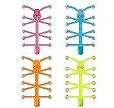 SZPLUS 4 Paar Schnellschnürsystem, elastische & reflektierende Schnürsenkel mit Schnellverschluss für Running, Fitness, Wandern und andere Sportschuhe (Mehrfarbig)