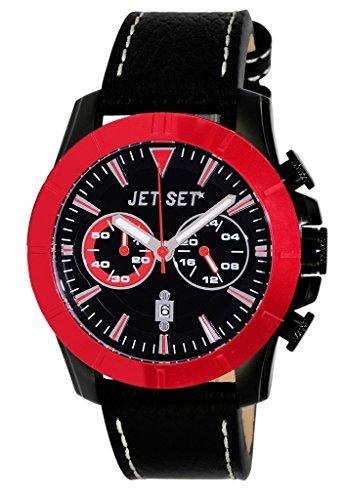 Jet Set j6339b-837–Vienna–Watch Men–Quartz–Chronograph–Black Dial–Black Leather Strap