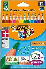 BIC Kids Evolution Triangle ECOlutions Crayons de Couleurs Triangulaires - Couleurs Assorties, Etui Carton de