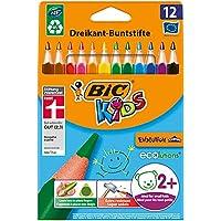 BIC Kids ECOlutions Evolution, 12 Kinder-Farbstifte, Ergonomische Buntstifte ab 2 Jahren