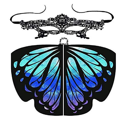 FUGUI Frauen Rosenmontag Karneval Schmetterling Kostüm mit Lace Masquerade Masks Damen Schön Hingucker Schmetterling Flügel Schal Kostüm Umschlagtücher (Dunkelblau, 168 x ()
