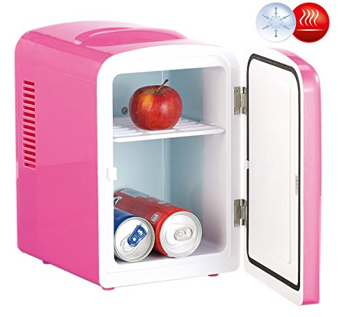 Rosenstein & Söhne Thermobehälter: Mini-Kühlschrank AC/DC, 12/230V 4l, mit Warmhalte-Funktion, pink (Camping-Kühlschrank)