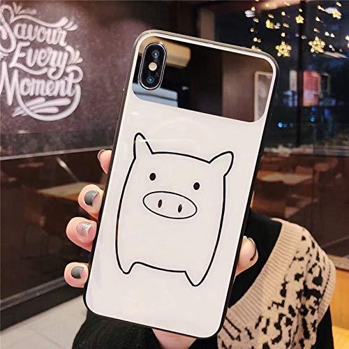 eative Paarmodelle des Karikaturapfel Xs Glashandy-Oberteilschweins IPhone7p / 8p Kosmetikspiegels 6sp (Color : White, Size : iPhone XS max) ()