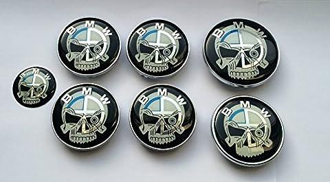 oem Systems Company Radkappen-Set inkl. Lenkradkappe / Aufkleber von BMW, Schädelmotiv, Kofferraum, Motorhaube, Lenkrad,
