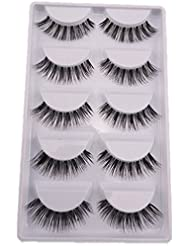 SupplyEU Natural Look Fake Eye Lash False Eyelashes Extension Makeup 5 Pairs