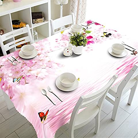 GFYWZ Tablecloth 3D Pink Flowers Butterfly Printing Dust-proof Tasteless Bedside cabinet cloth Table Top Cover ,