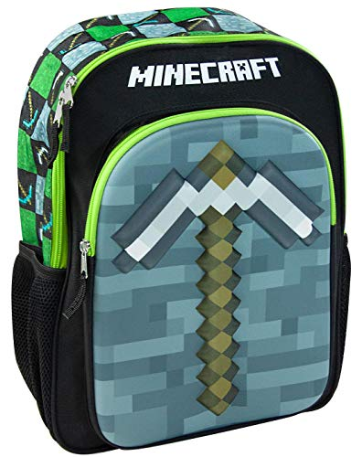 Minecraft Moulded 3D Pickaxe Kids Backpack Children's School Bag Boys/Girls Rucksack