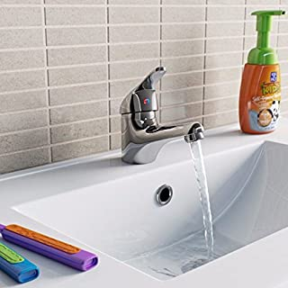 Chrome Basin Sink Monobloc Mixer Tap Small Modern Bathroom Lever Faucet